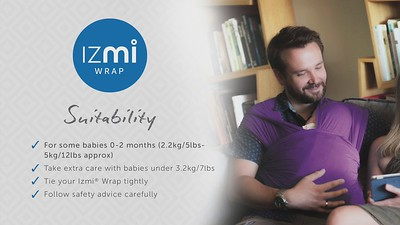 IZMI wrap front carry - newborn variation v2