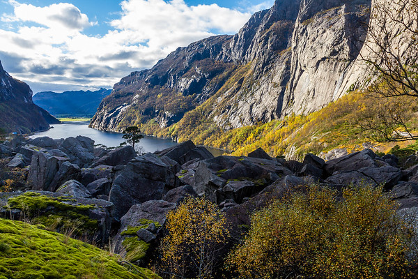 Høst over Gloppedalsura og Indra Vinjavatnet i Gjesdal og Bjerkreim kommuner.