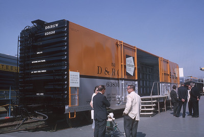 2021.004.9.ARPE-018--j david ingles 35mm kodachrome--D&RGW--boxcar on display at American Railway Progress Exposition at ICRR 31st St yard--Chicago IL--1963 1000