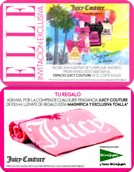 JUICY COUTURE Diverse 2014 Spain (El Corte Inglés stores) recto-verso plastified invitation card 'Invitación exclusiva - Juicy goes to Malibu - Tu regalo'