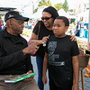 The 26th Johnny Appleseed Festival was held on Saturday, September 21, 2019 in Leominster. Having a good laugh with Boston Celtics Legend Sam Jones is Cheryl Robinson and her son Holden Robinson, 10, both from Shirley. Just behind them is Holdens friend Christian Chatalian and his mom Christina Chatalian from Leominster. SENTINEL & ENTERPRISE/JOHN LOVE