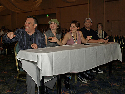 The judges for tonight's show (right to left) Tom Croom aka Simon Lynn, cosplay master Shannon Croom aka Paula Richard Horvitz, the amazing voice of Zim from Invader Zim