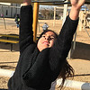 KEVIN HARVISON | Staff photo<br /> Xochitl Vargas has some fun in the sun while enjoying an afternoon recess.
