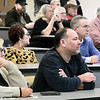 KEVIN HARVISON | Staff photo<br /> Pictured from left, Cindy Basolo and her husband Pat Basolo, listen during the Town Hall Meeting at the Eastern Oklahoma State College McAlester Campus, about the intersection problems on U.S. 69.