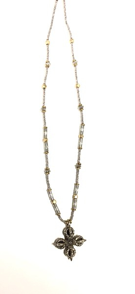 """7-SC-SGH CO55  BRASS DOUBLE DORJE ON BRASS AND SILVER PLATE BEADS  16 + 2"""""""