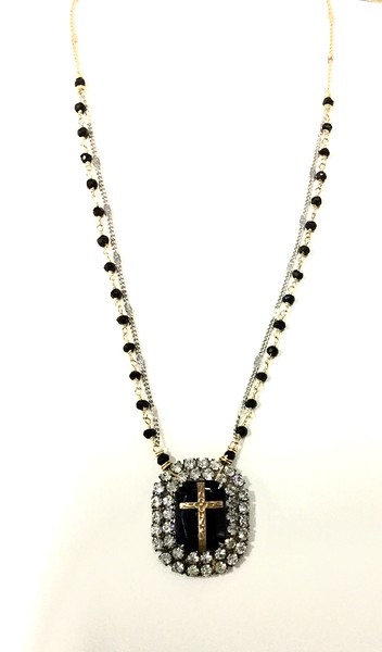 """7-RSR-OX CO89  VINTAGE EARRING AS NECKLACE WITH APPLIED CROSS ON ONYX ROSARY AND CHAIN 16+2"""""""