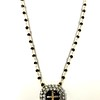 7-RSR-OX CO89  VINTAGE EARRING AS NECKLACE WITH APPLIED CROSS ON ONYX ROSARY AND CHAIN 16+2""
