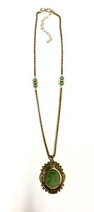 7-RM232-GLS CO96  BRONZE FRAME WITH GREEN LAVA STONE CAMEO ON VINTAGE CHAIN 16 +2