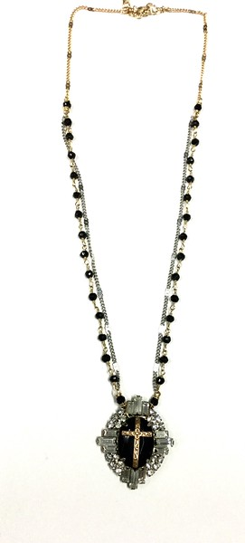 """7-RSO-OX CO89  VINTAGE EARRING WITH APPLIED CROSS ON ONYX ROSARY AND SILVER CHAIN  16+2"""""""