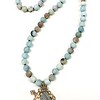 7-AZ-BIGKEY CO109  KNOTTED MATTE FINISH AMAZONITE BEADS WITH BRONZE KEY AND CROSS AND CROWN WITH BLOWN GLASS     36""