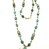 7-TQ-RS CO125  FACETED TURQUOISE WITH VINTAGE SPACER BEADS ON AFRICAN HEISHI,  BASKET BEAD WITH BRONZE CROSS PENDANT.  37""