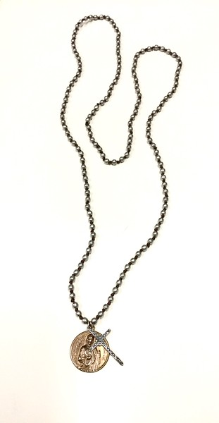 "7-RM6/34-GK4 CO64  ST JUDE AND STERLING CROSS ON SILVER KNOTTED 36"" NECK"