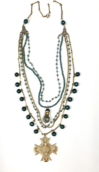 7-5-RM267BL CO159  COLLEGE MERIT MEDAL ON VINTAGE CHAINS, BLUE QTZ ROSARY CHAIN, BLUE PEARLS AND VINTAGE CHAIN  21""