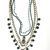 """7-5-RM267BL CO159  COLLEGE MERIT MEDAL ON VINTAGE CHAINS, BLUE QTZ ROSARY CHAIN, BLUE PEARLS AND VINTAGE CHAIN  21"""""""