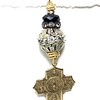 8-RS-R,56 CO64  ONYX AND RHINESTONES WITH 5 WAY BRONZE CROSS