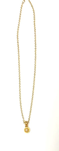 """73386V-CZ CO65  STERLING VERMEIL PENDANT WITH CZ ON GOLD FILLED CHAIN  16+2"""""""