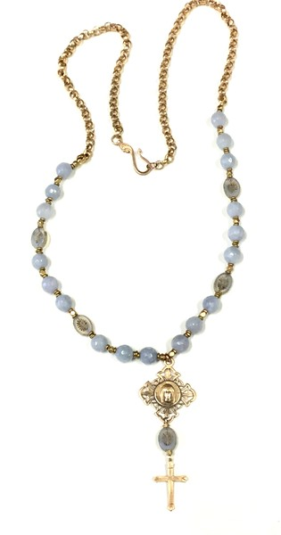 7-RM281-79BQ CO106  OUR LADY PENDANT WITH CROSS ON CZECH BEADS AND BLUE QUARTZ  33""