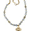 """7-RM281-79BQ CO106  OUR LADY PENDANT WITH CROSS ON CZECH BEADS AND BLUE QUARTZ  33"""""""