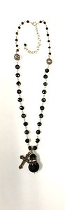7-CRS-CBOX CO80  ETCHED CZECH BEAD WITH VINTAGE RHINESTONE DETAIL AND BRONZE CROSS ON LARGE ONYX ROSARY CHAIN  16+2