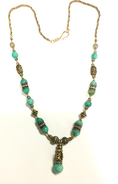 7-AZ-RS CO115 AMAZONITE WITH RHINESTONES AND VINTAGE BRASS BEADS.  ENDS IN VINTAGE ROPE CHAIN.  27""