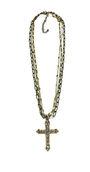 7-3-RM265/34 CO69  STERLING CROSS ON BRONZE CROSS ON 3 DIFFERENT COLOR CHAINS  16+2""