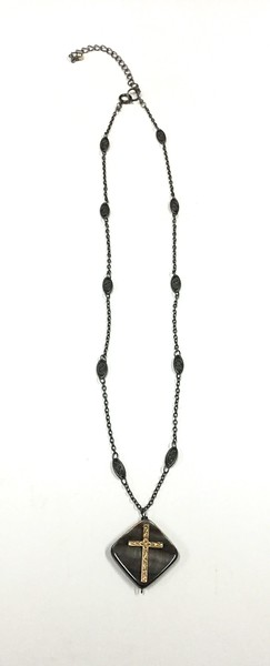 7-RM274MOP CO49  BLACK MOTHER OF PEARL WITH BRONZE CROSS ON FILIGREE CHAIN  16+2""