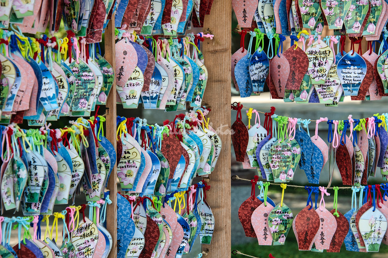 Colorful Ema votive or wishing tablets, Hasedera Temple, Kamakura, Japan