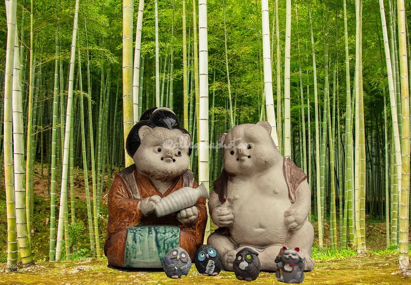 """Giant Tanuki family"", Bamboo Forest, Arashiyama, Kyoto, Japan"