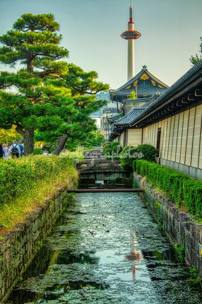 The moat at Higashi Honganji Temple and Kyoto Tower