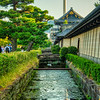 The moat at Higashi Honganji Temple and Kyoto Tower