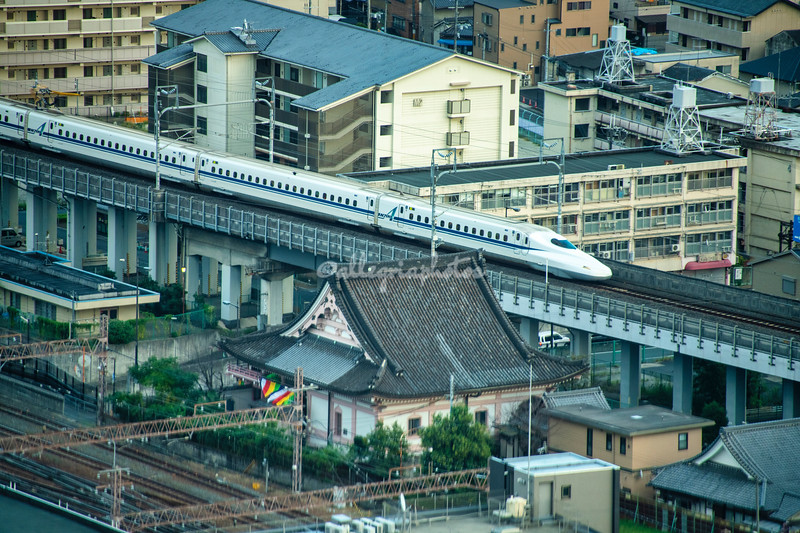 Bullet train approaching Kyoto Station
