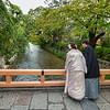 Wedding couple on the Tatsumi Bridge, Gion District, Kyoto, Japan