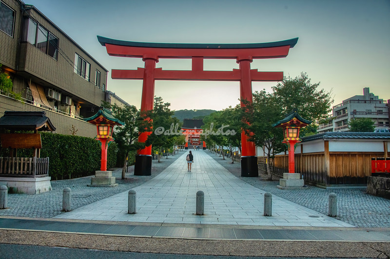 Entrance to Fushimi Inari shrine at dawn, Kyoto