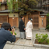 Wedding couple in the Gion District, Kyoto,  Japan