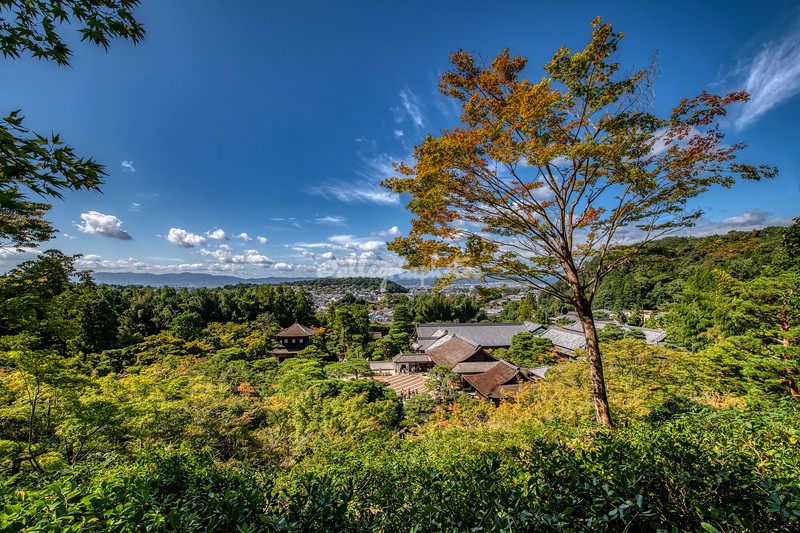 View over Kyoto from Ginkakuji Temple, Japan.