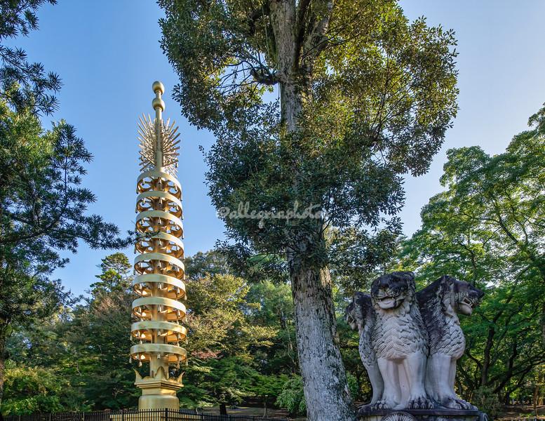 On Asoka Pilar and Lion Statue, Todaiji Temple, Nara, Japan