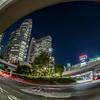 View from outside the Shinjuku Railway Station, Tokyo, at night