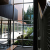 Tall windows between amphitheater and lobby.  These allow you to see the courtyard as well as the surrounding site/trees.