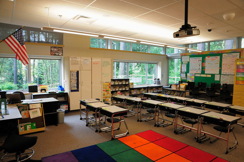 Classroom with lots of outside views and day light.  High intensity projector overcomes outside light.  I see that the shade on the upper window is drawn and that similar shades are installed on the other windows.