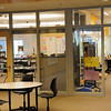 Large windows to the common area and an OPEN door way between classes.