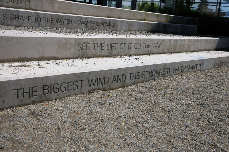 One of several bits of poetry found around the building.  These stairs can serve as an outside classroom and are accessible directly from the inside.  All classrooms can access the outside.