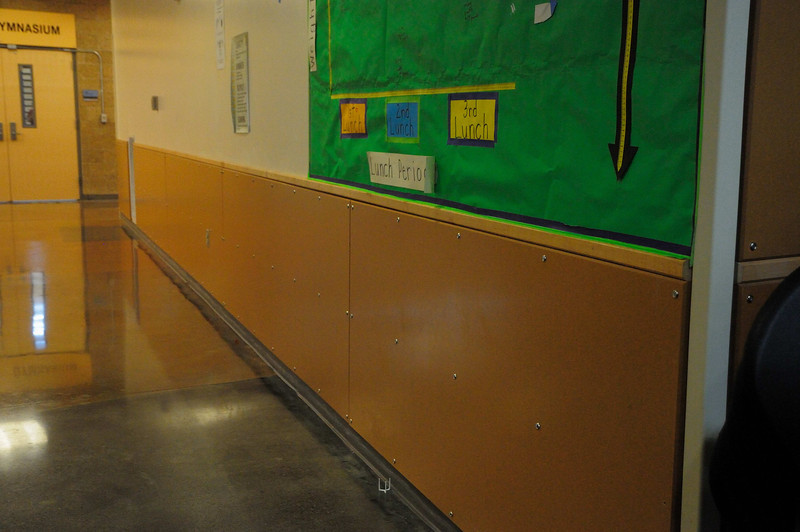 Durable wall surface throughout school.  Mounted with screws (easier to replace?).  Color did not seem to be integral (all the way through) asa scratches showed up a lighter color.