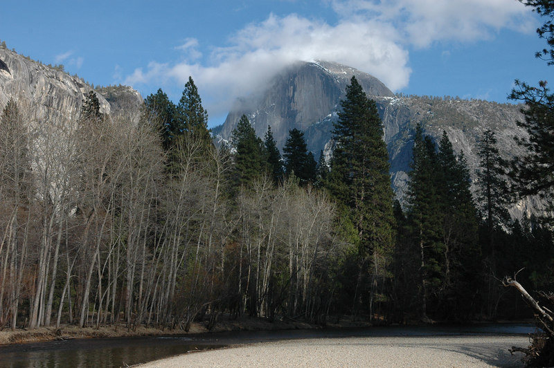 Half cloudy Dome and Merced River