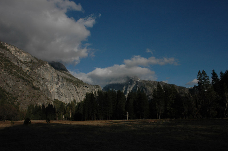 Cloud covered Half Dome