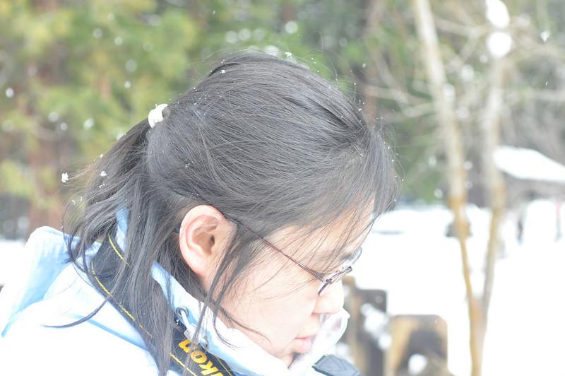 Snow on Viv's hair...