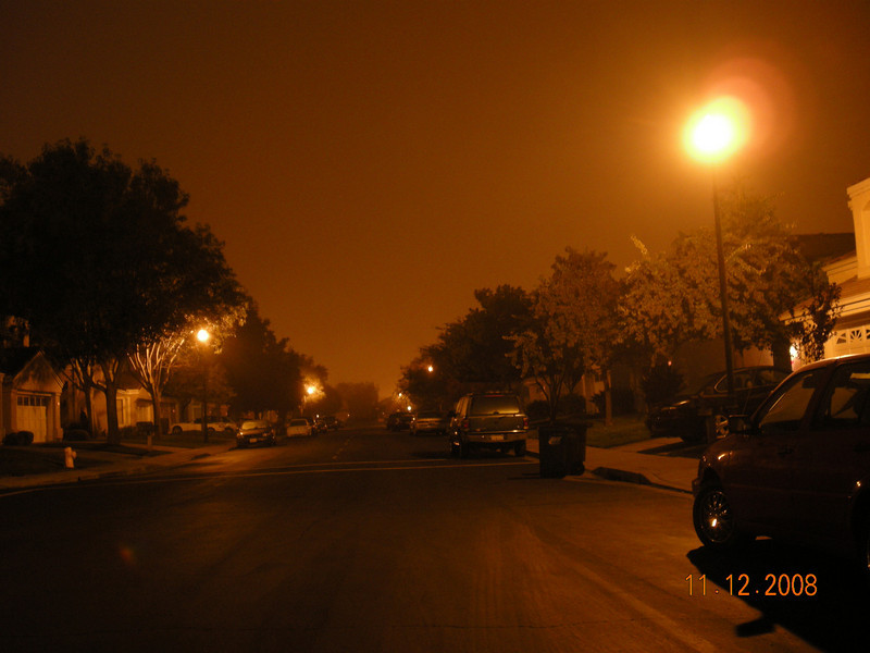 11/12/08: Foggy Night. There were more fog driving down 880 North at Milpitas but my camera is in my backpack behind the driver seat which I can not get to. The mood is less obvious here at home. I am using a tripod here so the everything is still sharp with 1 sec exposure.
