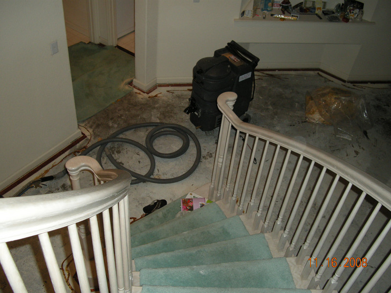 11/18/08: After a long day. I went home to find the water pipe in laudary room broke. Flooded the lower level. The carpet is removed to be dried. Hopefully it will be fixed soon.