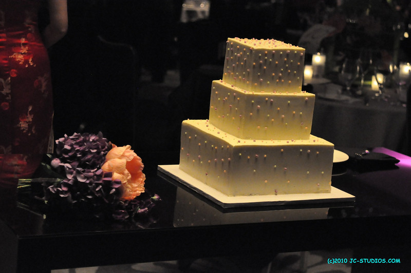 06/19/10 - Sofitel Hotel, Los Angeles, CA. My cousin's wedding cake. Looks hi-tech with square cake and no bride and groom on top.