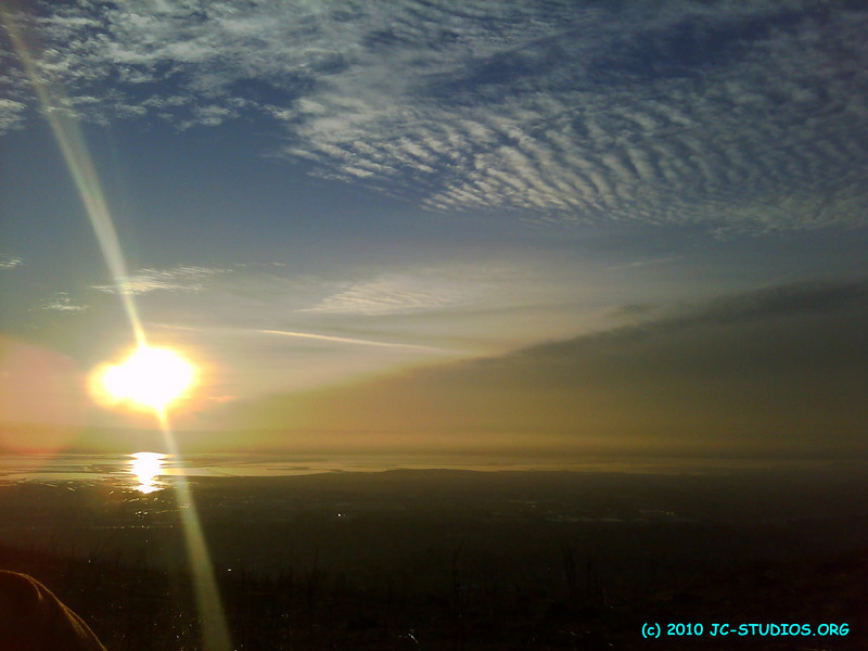 11/26/10 - Looking west from Mission Peak trail, Fremont, CA.  I like the nice orange hue and the clouds.