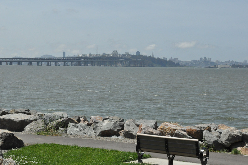 04/17/10: Bay Bridge View from Emerville, CA. I like the bench. Imagining myself sitting there and watch the bay.